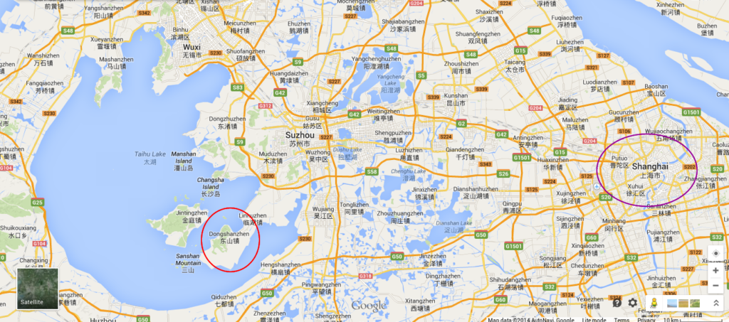 Distance from Shanghai to the tea garden in Suzhou.