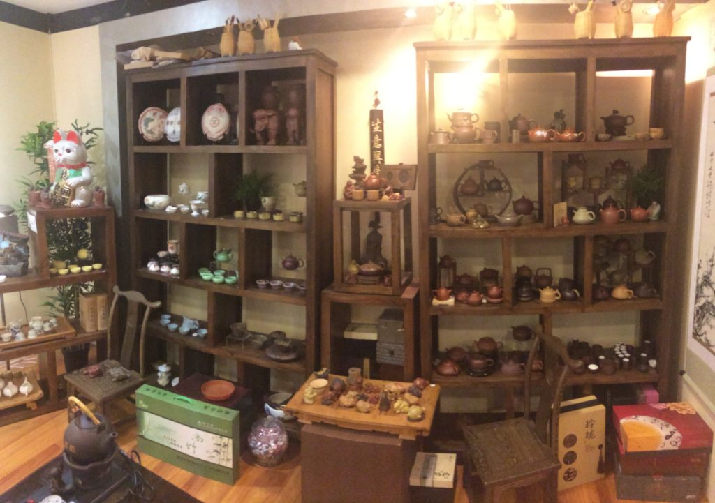 Backrow with Yixing tea pots and more at Topotea.